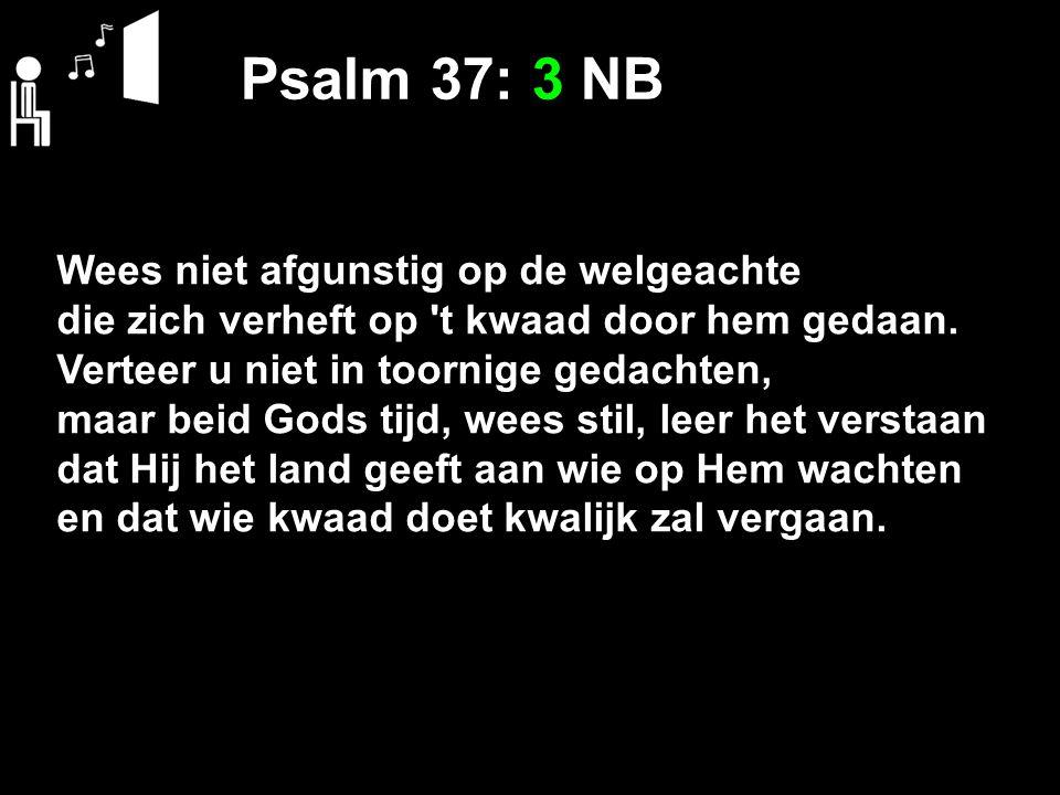 Psalm 37: 3 NB Wees niet afgunstig op de welgeachte