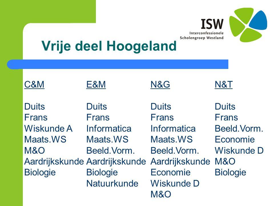 Vrije deel Hoogeland C&M Duits Frans Wiskunde A Maats.WS M&O