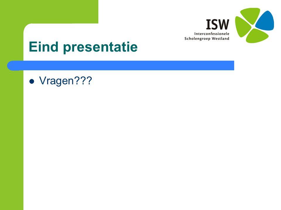 Eind presentatie Vragen