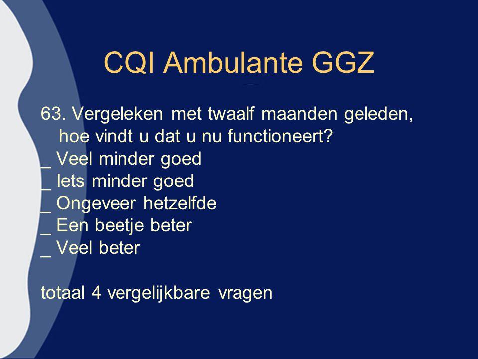CQI Ambulante GGZ 63. Vergeleken met twaalf maanden geleden,