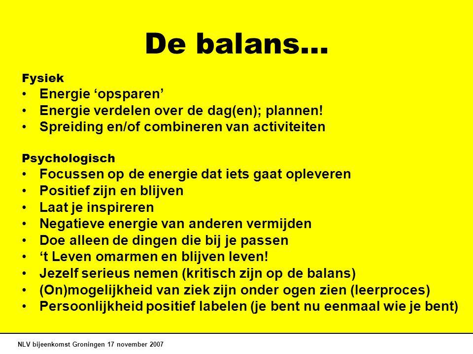 De balans… Energie 'opsparen'
