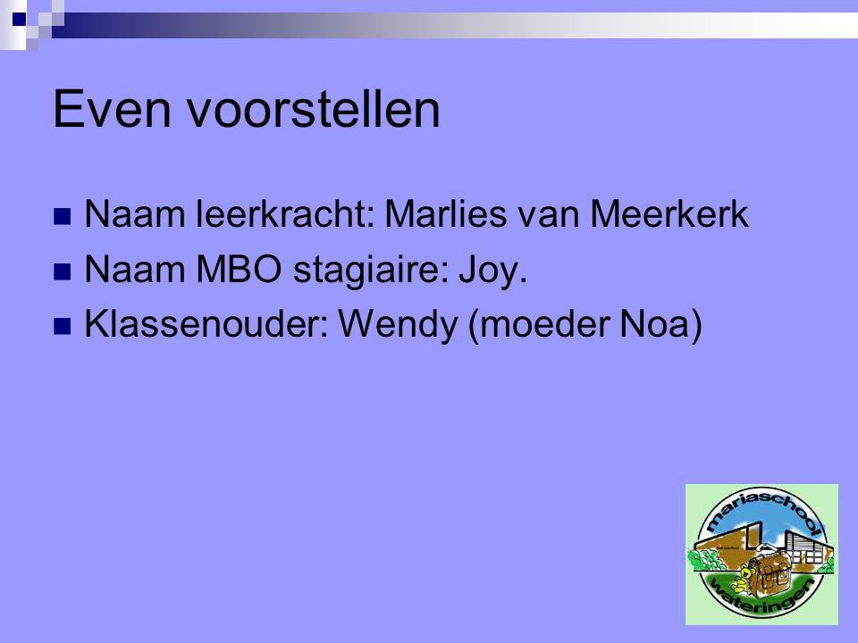 Even voorstellen Naam leerkracht: Marlies van Meerkerk