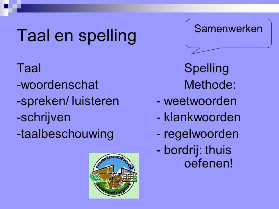 Taal en spelling Taal Spelling -woordenschat Methode: