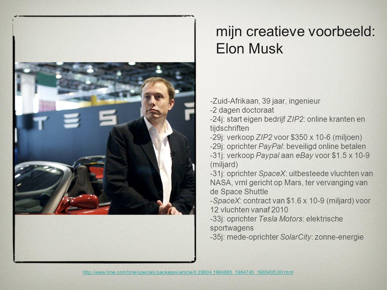 mijn creatieve voorbeeld: Elon Musk