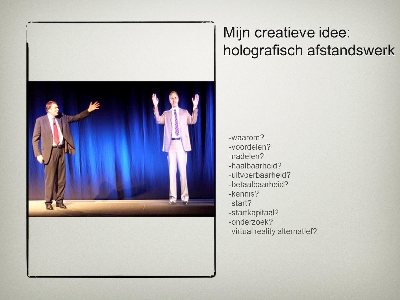 Mijn creatieve idee: holografisch afstandswerk