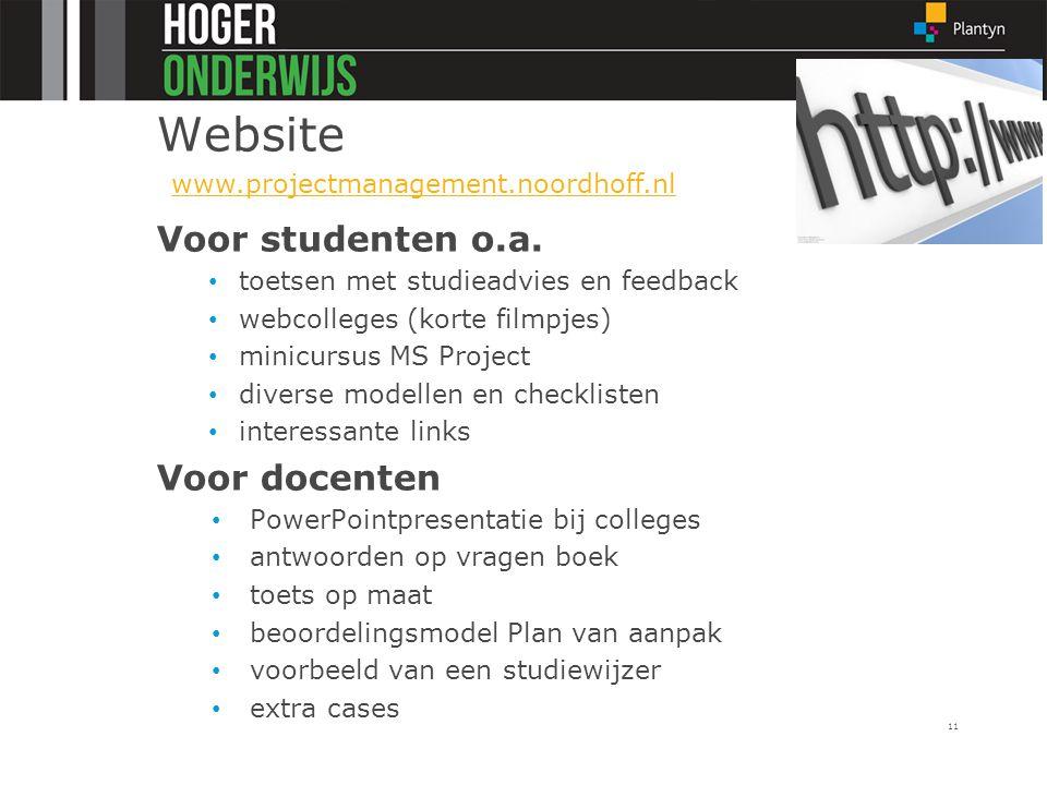 Website Voor studenten o.a. Voor docenten