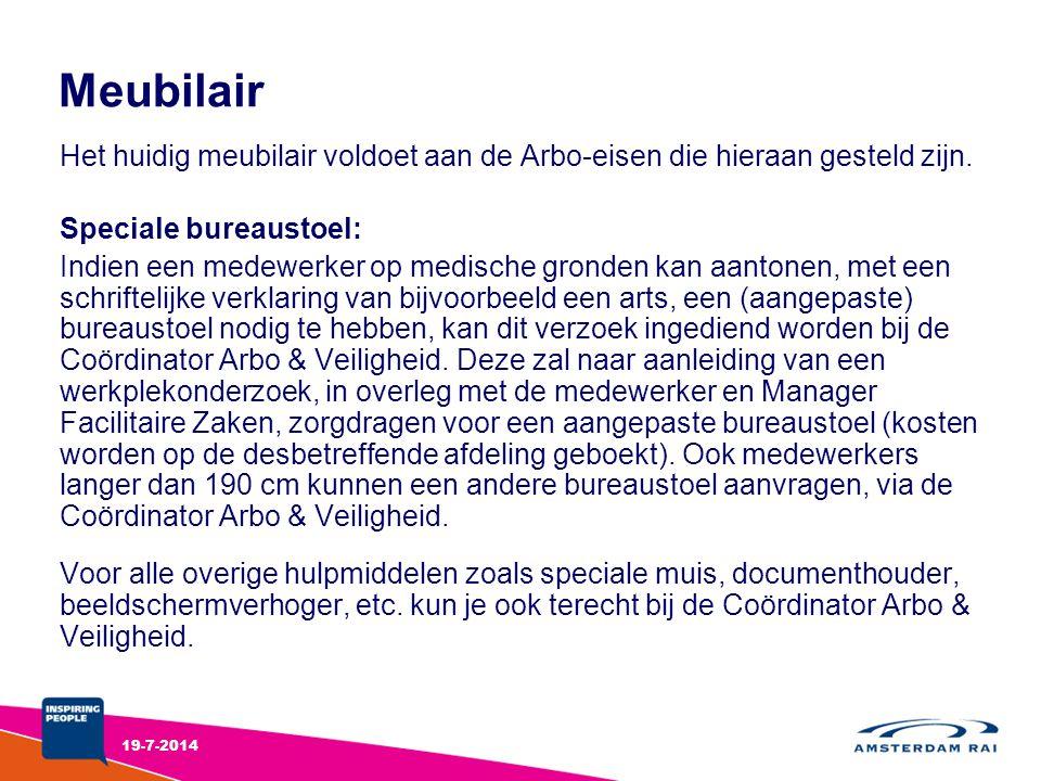 Meubilair Het huidig meubilair voldoet aan de Arbo-eisen die hieraan gesteld zijn. Speciale bureaustoel: