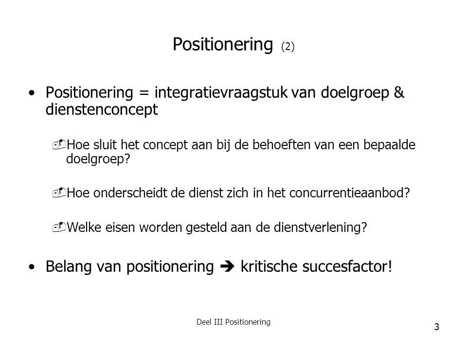 Deel III Positionering
