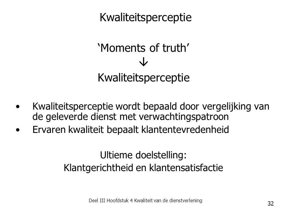 Kwaliteitsperceptie 'Moments of truth'  Kwaliteitsperceptie
