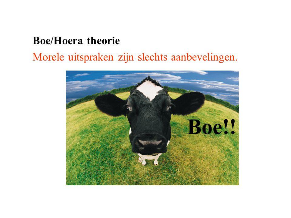 Boe/Hoera theorie Morele uitspraken zijn slechts aanbevelingen. Boe!!