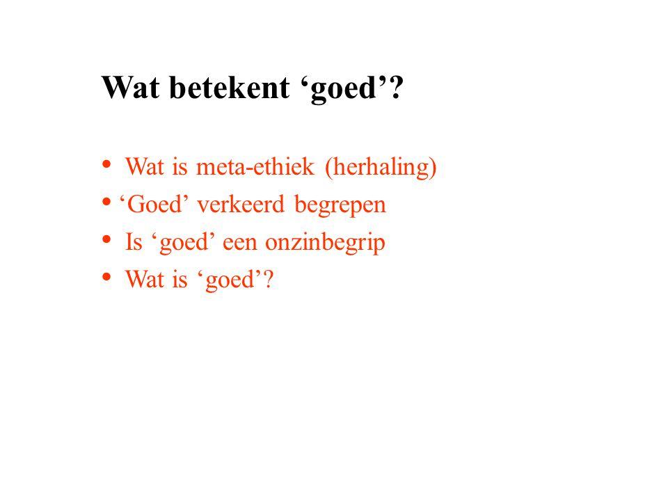 Wat betekent 'goed' Wat is meta-ethiek (herhaling)