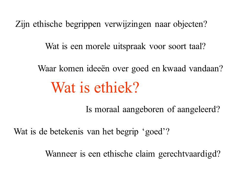 Wat is ethiek Zijn ethische begrippen verwijzingen naar objecten