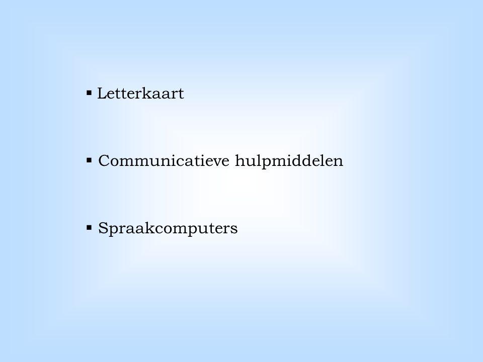 Letterkaart Communicatieve hulpmiddelen Spraakcomputers