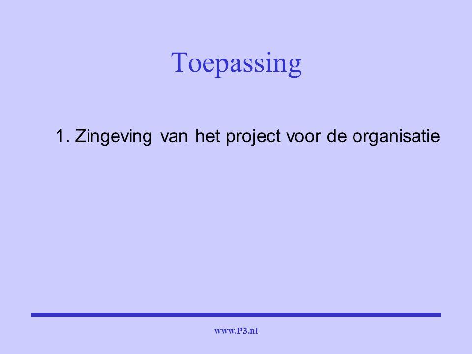 Toepassing 1. Zingeving van het project voor de organisatie www.P3.nl