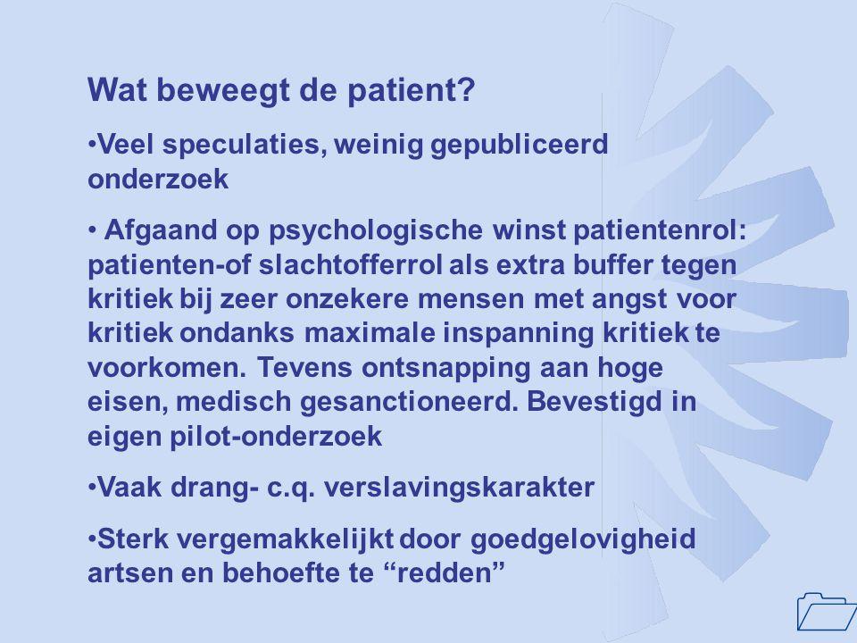 Wat beweegt de patient Veel speculaties, weinig gepubliceerd onderzoek.