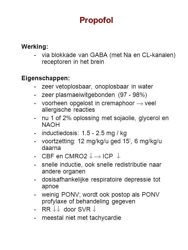 Propofol Werking: via blokkade van GABA (met Na en CL-kanalen) receptoren in het brein. Eigenschappen: