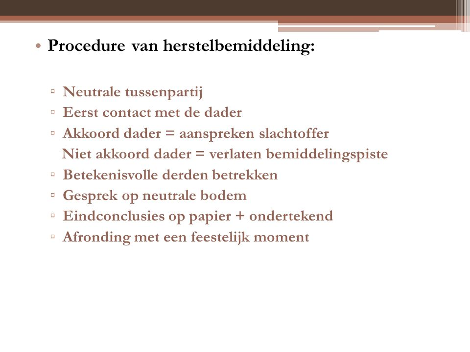 Procedure van herstelbemiddeling: