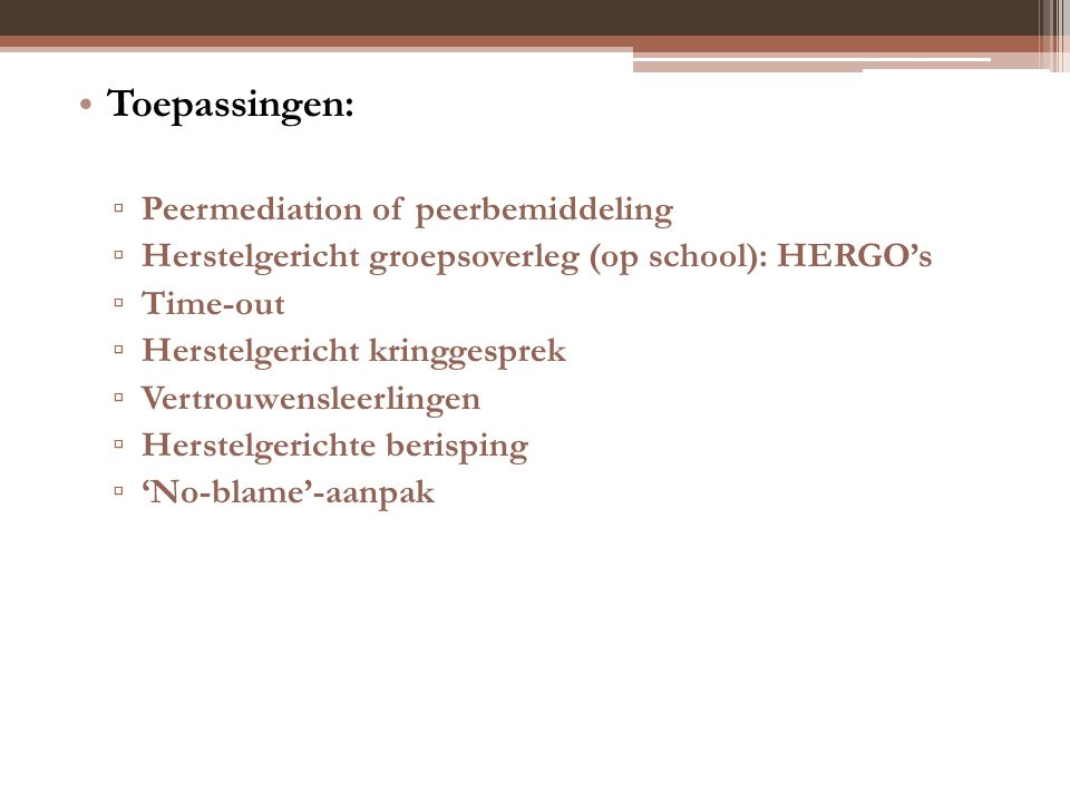 Toepassingen: Peermediation of peerbemiddeling