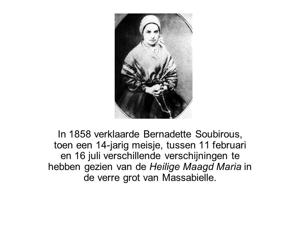In 1858 verklaarde Bernadette Soubirous, toen een 14-jarig meisje, tussen 11 februari en 16 juli verschillende verschijningen te hebben gezien van de Heilige Maagd Maria in de verre grot van Massabielle.