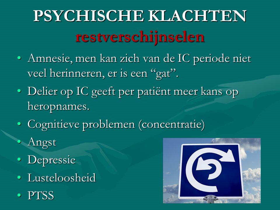 PSYCHISCHE KLACHTEN restverschijnselen