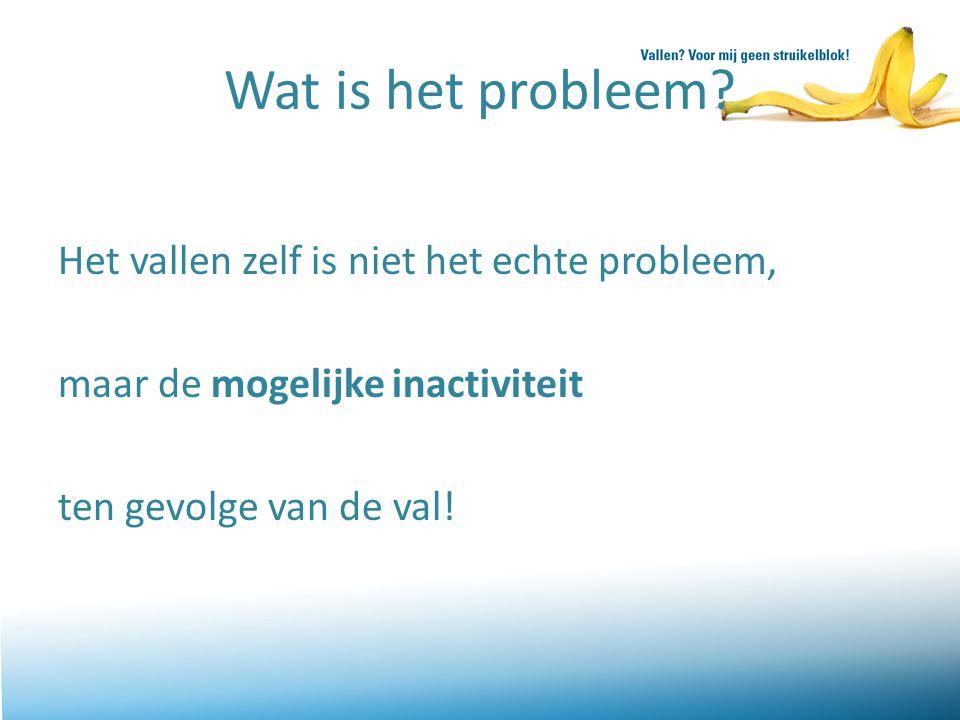 Wat is het probleem Het vallen zelf is niet het echte probleem, maar de mogelijke inactiviteit ten gevolge van de val!