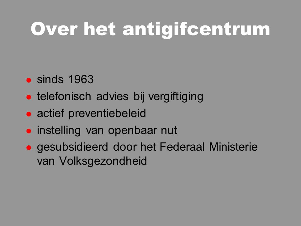 Over het antigifcentrum