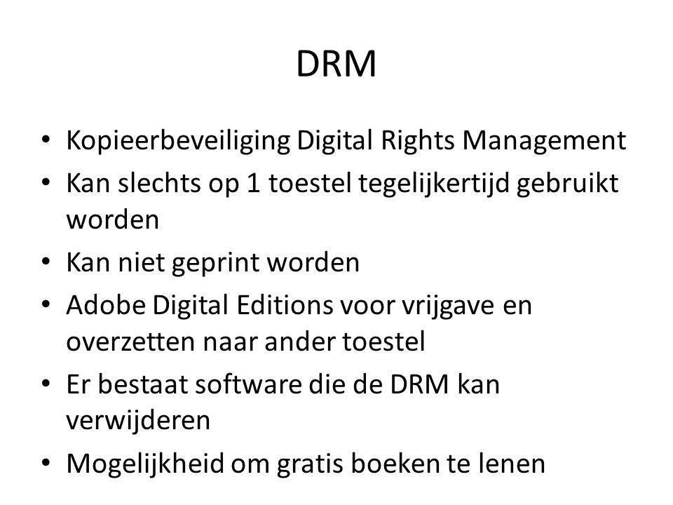 DRM Kopieerbeveiliging Digital Rights Management