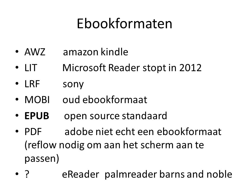 Ebookformaten AWZ amazon kindle LIT Microsoft Reader stopt in 2012