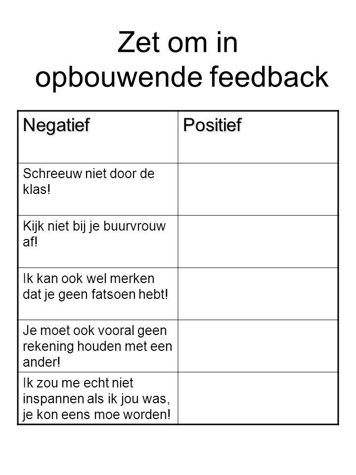 Zet om in opbouwende feedback