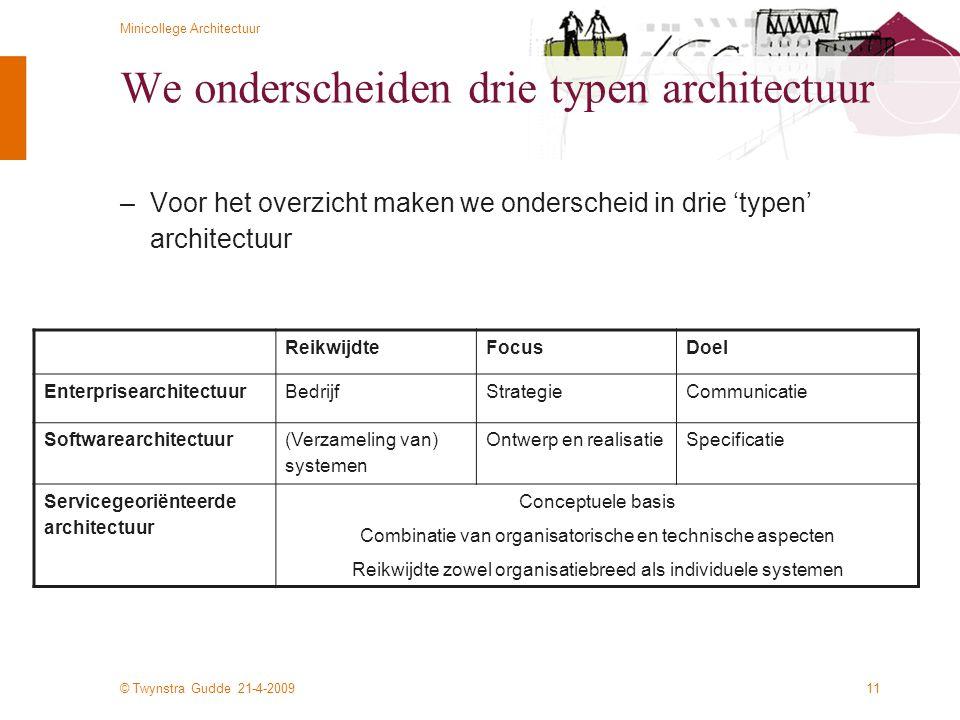 We onderscheiden drie typen architectuur