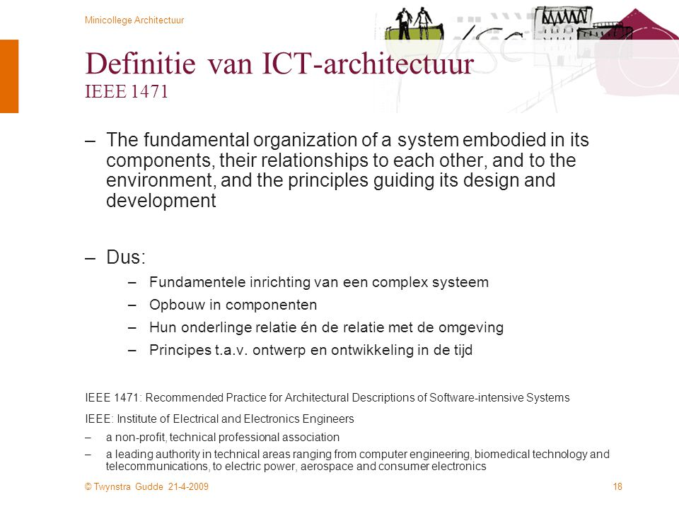 Definitie van ICT-architectuur IEEE 1471