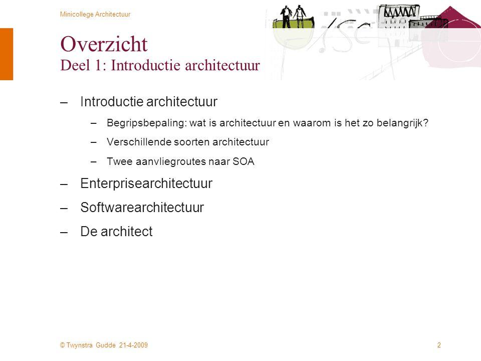 Overzicht Deel 1: Introductie architectuur