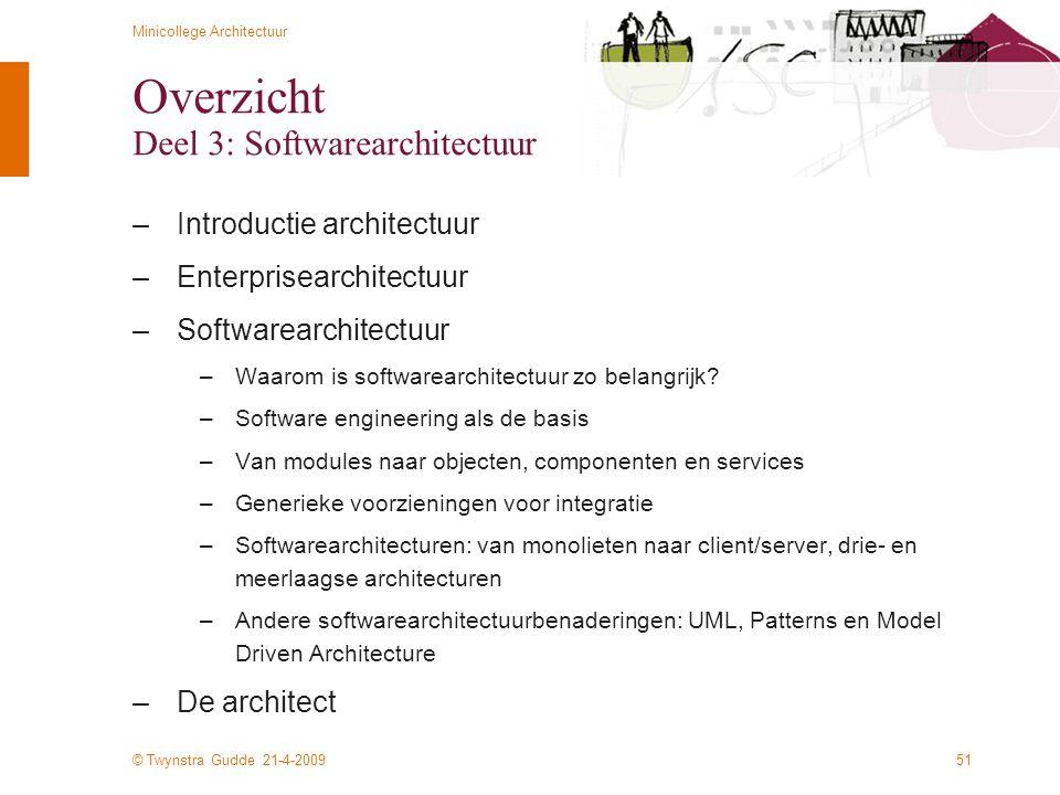 Overzicht Deel 3: Softwarearchitectuur