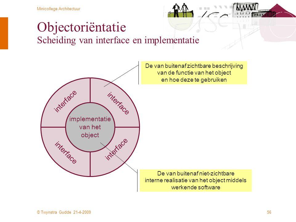 Objectoriëntatie Scheiding van interface en implementatie