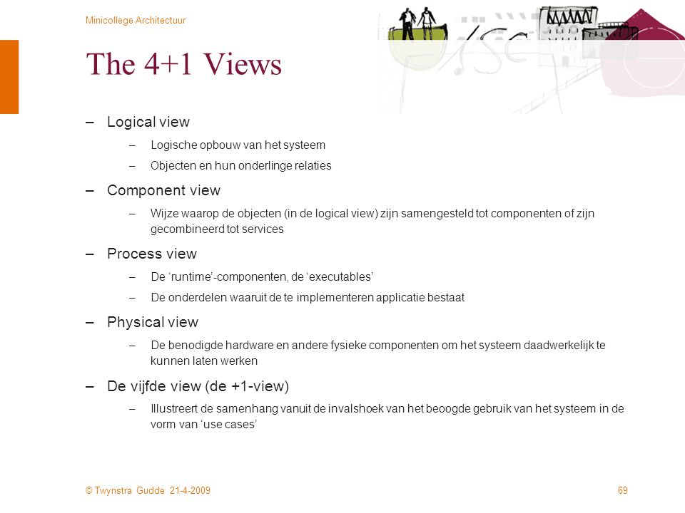 The 4+1 Views Logical view Component view Process view Physical view