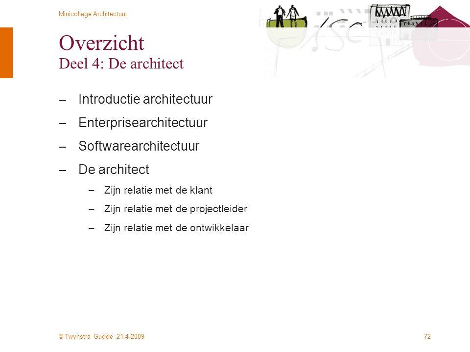 Overzicht Deel 4: De architect