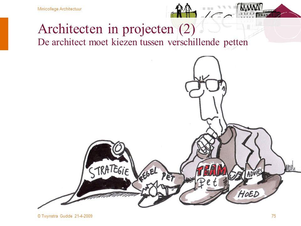 Architecten in projecten (2) De architect moet kiezen tussen verschillende petten
