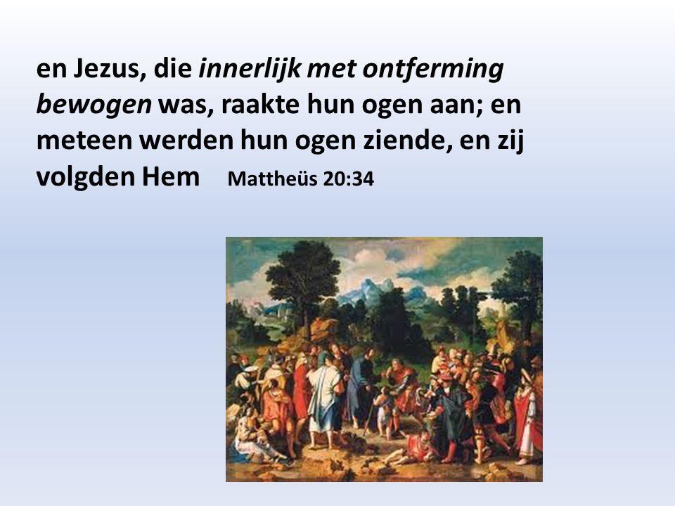 en Jezus, die innerlijk met ontferming bewogen was, raakte hun ogen aan; en meteen werden hun ogen ziende, en zij volgden Hem Mattheüs 20:34