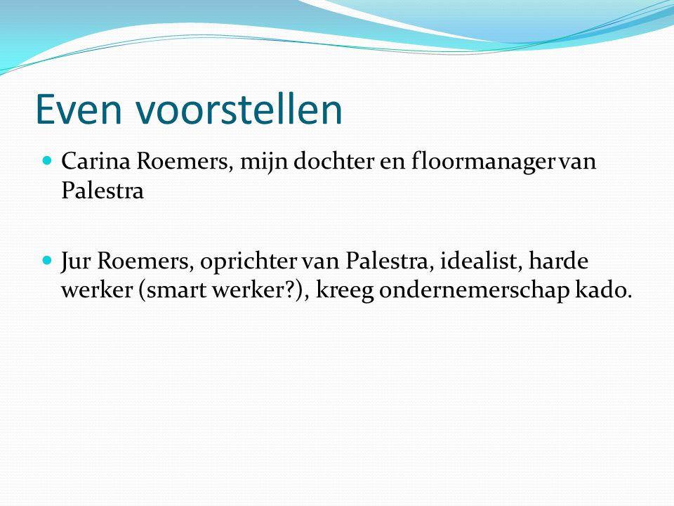 Even voorstellen Carina Roemers, mijn dochter en floormanager van Palestra.