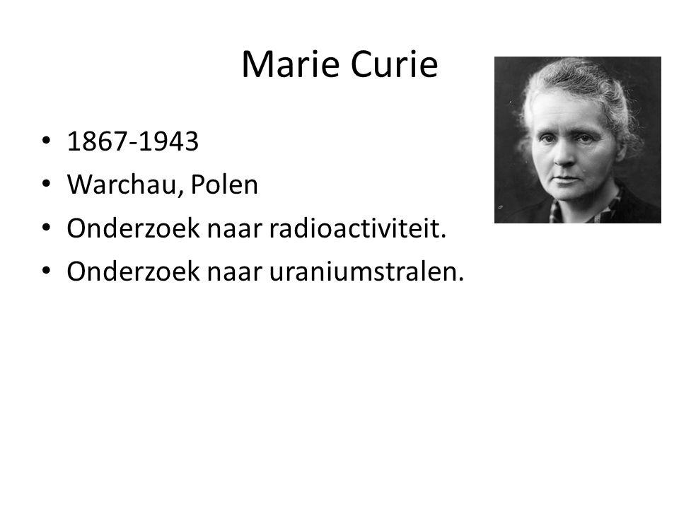 Marie Curie 1867-1943 Warchau, Polen Onderzoek naar radioactiviteit.