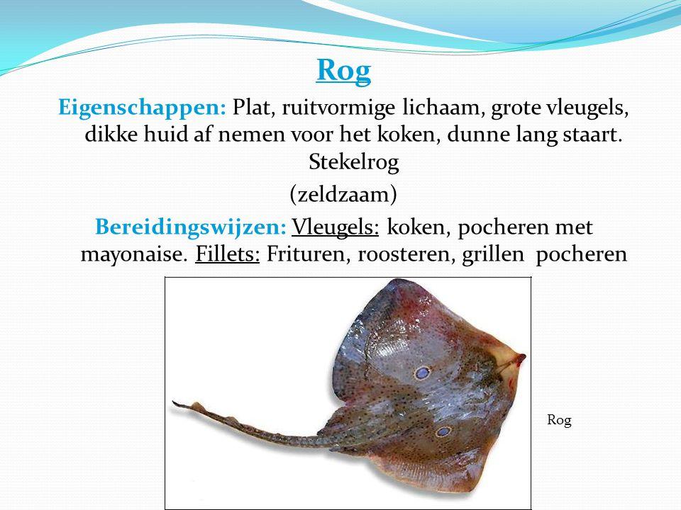 Rog Eigenschappen: Plat, ruitvormige lichaam, grote vleugels, dikke huid af nemen voor het koken, dunne lang staart. Stekelrog.