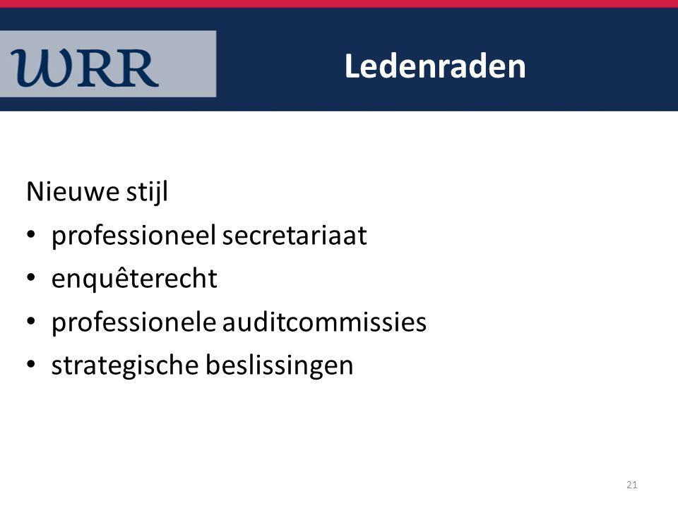 Ledenraden Nieuwe stijl professioneel secretariaat enquêterecht