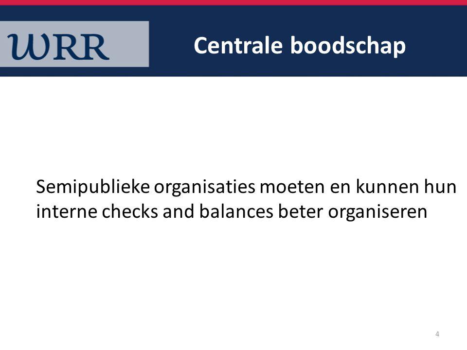 Centrale boodschap Semipublieke organisaties moeten en kunnen hun interne checks and balances beter organiseren.
