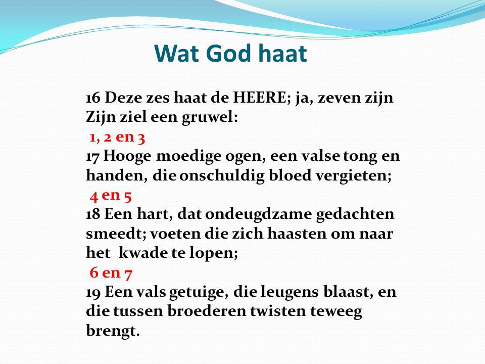 Wat God haat 16 Deze zes haat de HEERE; ja, zeven zijn Zijn ziel een gruwel: 1, 2 en 3.