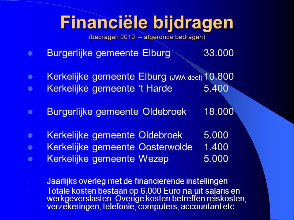 Financiële bijdragen (bedragen 2010 – afgeronde bedragen)