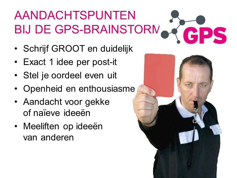 AANDACHTSPUNTEN BIJ DE GPS-BRAINSTORM