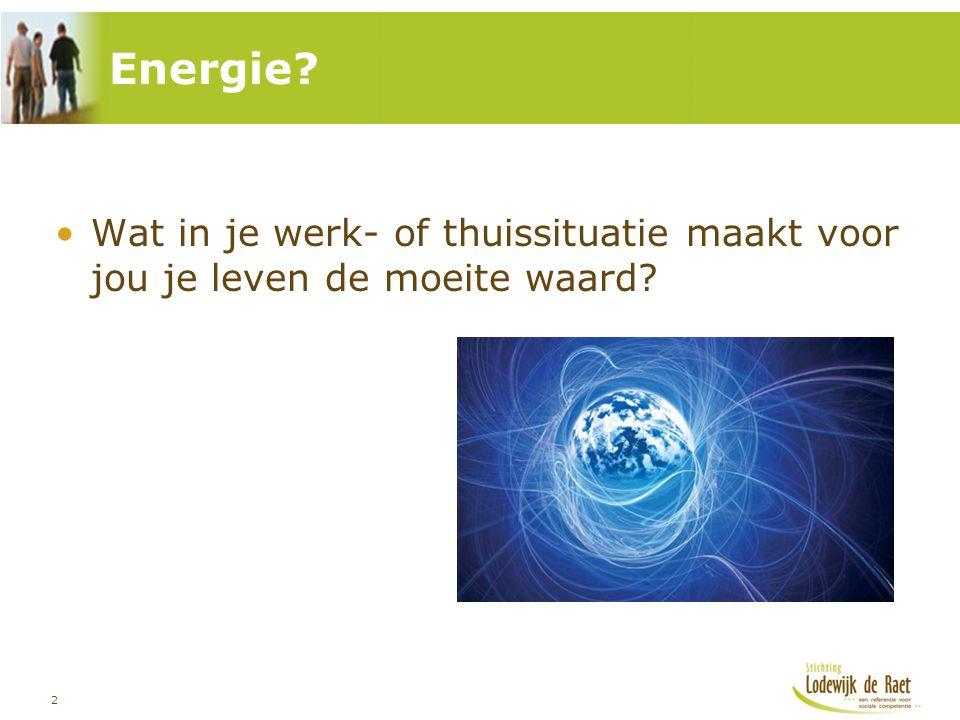 Energie Wat in je werk- of thuissituatie maakt voor jou je leven de moeite waard