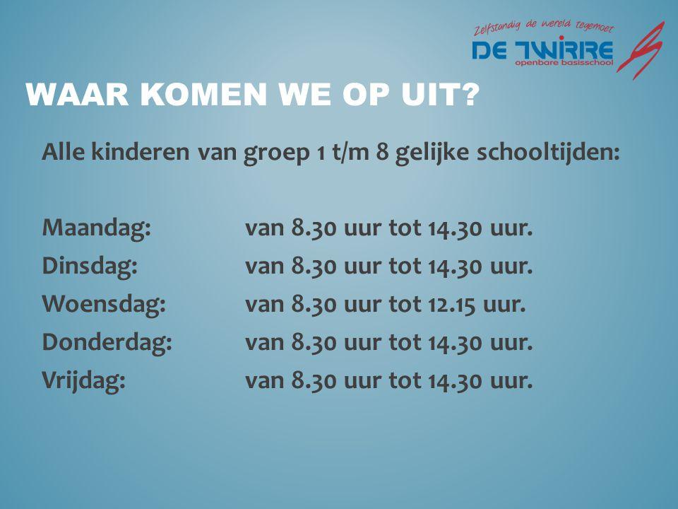 Waar komen we op uit Alle kinderen van groep 1 t/m 8 gelijke schooltijden: Maandag: van 8.30 uur tot 14.30 uur.