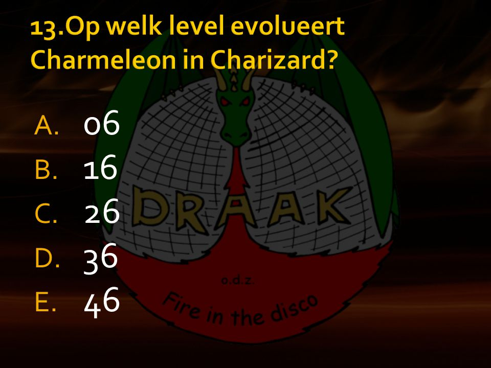13.Op welk level evolueert Charmeleon in Charizard