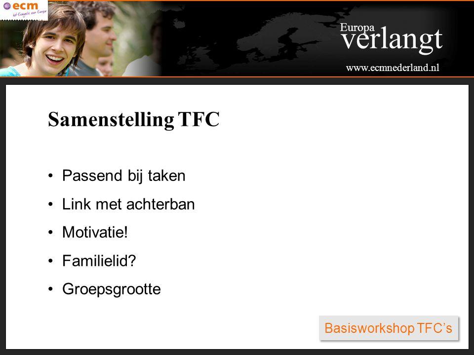 verlangt Samenstelling TFC Passend bij taken Link met achterban